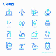 Airport thin line icons set: check-in counter, gates, boarding pass, escalator, toilet, food court, baggage claim, wrapping service, duty free, departures, arrivals, customs. Vector illustration.