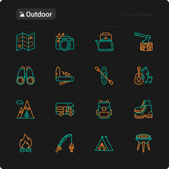 Outdoor thin line icons set: mountains, backpack, uncle boots, kettle, axe, map, swiss knife, canoe, camera, fishing rod, binoculars. Modern vector illustration for black theme.