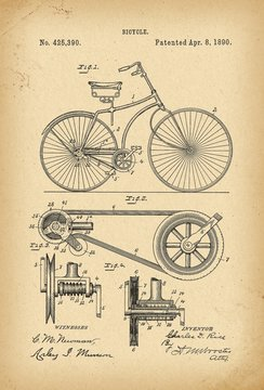 1890 Patent Velocipede Bicycle history  invention