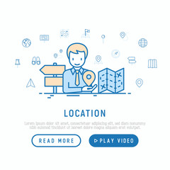 Location concept: man is looking for right direction. Thin line icons: pin, pointer, route, compass, wall needle, cursor, navigation, gps, binoculars. Modern vector illustration, web page template.