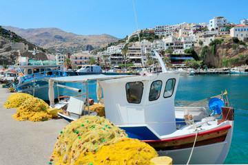 Bateaux de pêche port d'Agia Galini en Crète