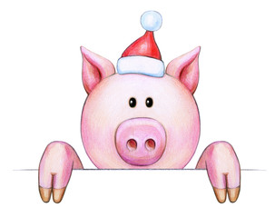 Cute pig cartoon in Christmas hat, hiding by bank, isolated on white.