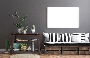 Mock up poster frame in hipster interior background, living on boxes concept, 3D render