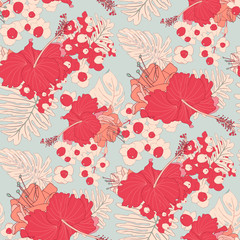 Red Hibiscus Seamless Tropical Vector Background