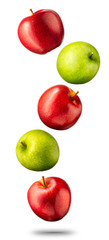 Falling red and green apples isolated on white background with clipping path and shiny reflections