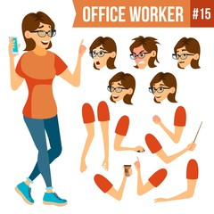 Office Worker Vector.Woman. Successful Officer, Clerk, Servant. Adult Business Woman. Face Emotions, Various Gestures. Animation Creation Set. Isolated Flat Cartoon Illustration