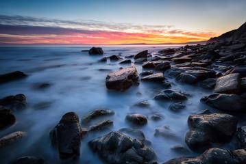 After sunset / Rocky beach long exposure seascape after sunset