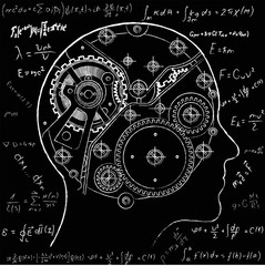 The mechanism of human thinking. It is depicted in the form of a clock mechanism with gears and screws located inside the human head.