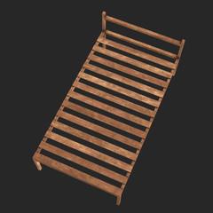 Base orthopedic wooden bed 3d render illustration on black background