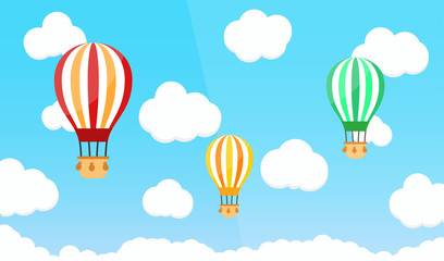 Hot air ballon on blue sky with cloud. Flat vector illystration.