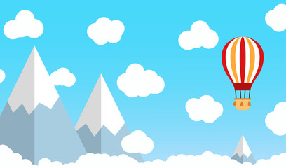 Hot air balloon on blue sky with cloud and mountain. Flat vector illustration.