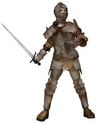 Undead Zombie Knight in Attacking Pose - fantasy illustration