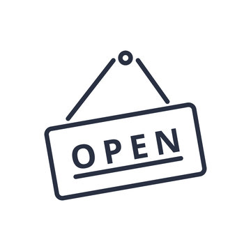 Open sign icon in trendy flat style. Board with text line icon. Business signboard hanging on a nail