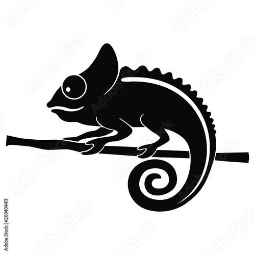 Icon Chameleon Flat Symbol Chameleon Isolated Black Sign Chameleon
