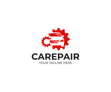Car repair logo template. Car repairing vector design. Automobile and gear logotype
