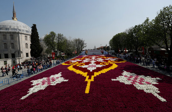 A huge carpet design formed by tulips is seen at Sultanahmet square during the 13th Tulip Festival in Istanbul