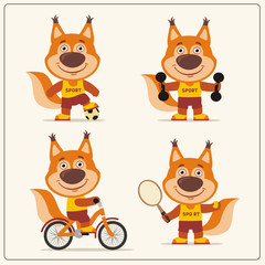Set of funny squirrel is engaged in sports. Collection of cartoon squirrel of the sportsman: football player, with dumbbells, bicyclist, tennis player.