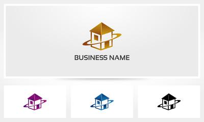 Flat House Apartment Logo