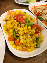 Somtum corn salad Thailand food