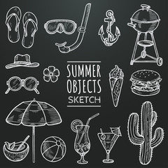 Summer vector chalk sketch set. Hand drawn objects, food, cocktails ,beach accessories, flower, cactus. Summer attributes doodle illustration. Hand drawn design elements. Eps 10