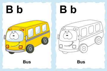 Alphabet coloring book page with outline clip art to color. Lett