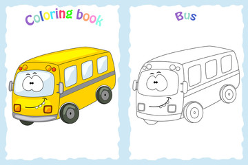 Coloring book page for  children with colorful bus  and sketch t