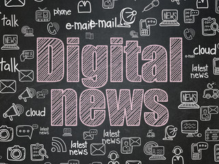 News concept: Chalk Pink text Digital News on School board background with  Hand Drawn News Icons, School Board