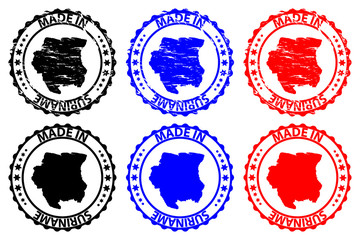 Made in Suriname - rubber stamp - vector, Suriname map pattern - black, blue and red