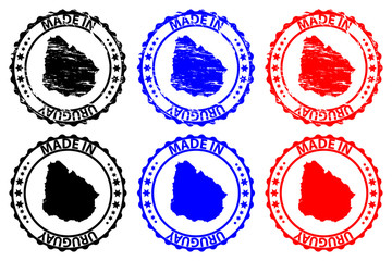 Made in Uruguay - rubber stamp - vector, Uruguay map pattern - black, blue and red