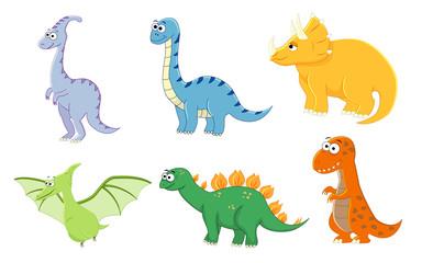 Set of cartoon funny dinosaurus. Vector illustration. Stegosauru
