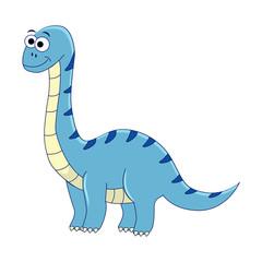 Cute cartoon diplodocus. Vector illustration of dinosaur isolate