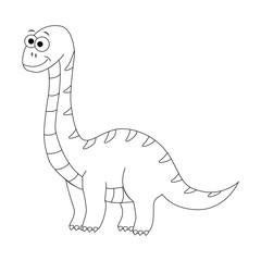 Colorless funny cartoon  diplodocus. Vector illustration. Colori