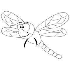 Colorless funny cartoon dragonfly.