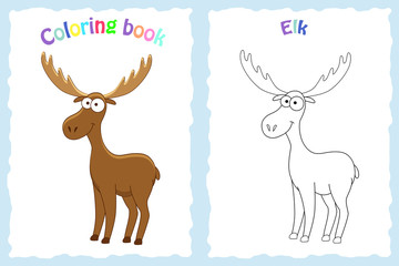 Coloring book page for preschool children with colorful elk and