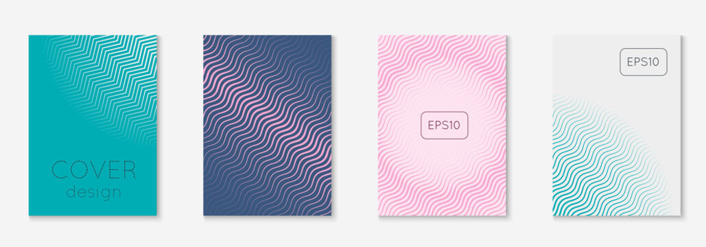Abstract covers set. Minimal trendy vector with halftone gradients. Geometric future template for flyer, poster, brochure and invitation. Minimalistic colorful cover. Abstract shapes illustration.