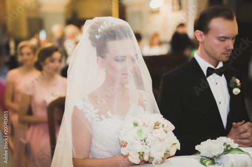 Wedding Bide And Groom Get Married In A Church