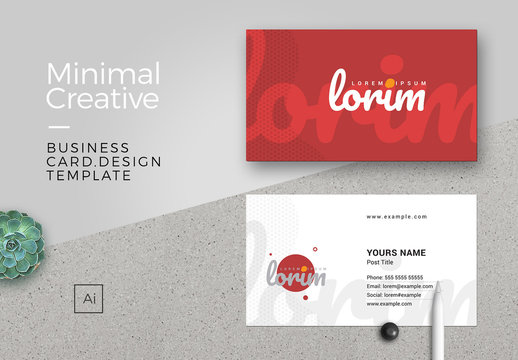 Red Business Card Layout with Cursive Font