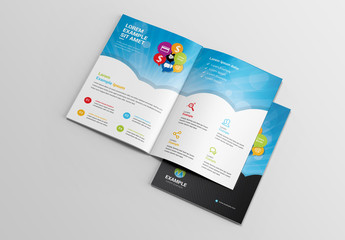 Social Media Brochure Layout with Sun Ray Element