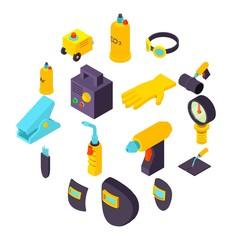 Welding tools icons set, isometric style