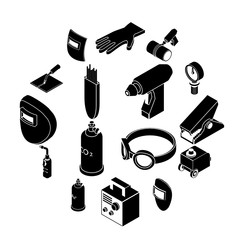 Welding tools icons set, simple style