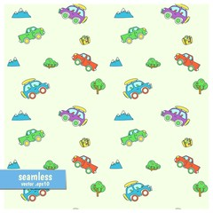 Seamless vector color pattern with cartoon suv and pickups stylized for children