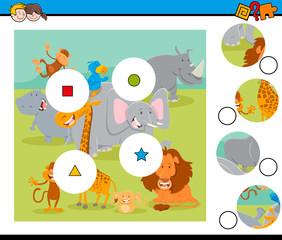match pieces puzzle with safari wild animals