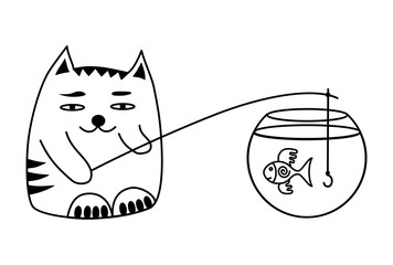 Cat and fish in the aquarium. A cat catches fish. Funny cartoon picture.  Humorous  vector graphics.