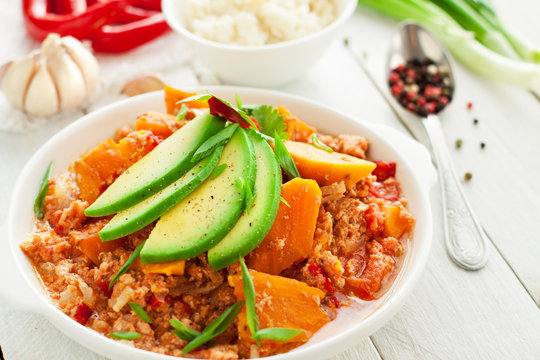 Chicken chili with sweet potatoes and avocado