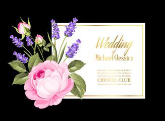 Gold wedding invitation. Vector illustration