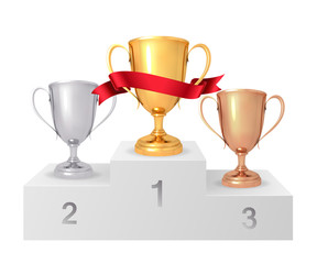 The winner's cups. White winners podium. Pedestal. Set of realistic gold, silver, bronze cup. Vector illustration