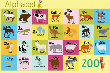English alphabet with animals on a yellow background