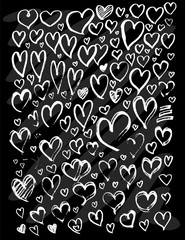 Set of vector doodle drawing Collection Heart white line on black background eps10