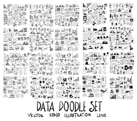 Set of vector doodle drawing icon Collection Info Data on white background eps10