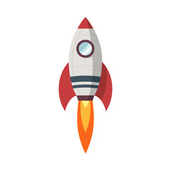 Rocket launch icon, flat design